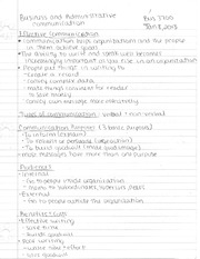 Buisness and administrative communication notes