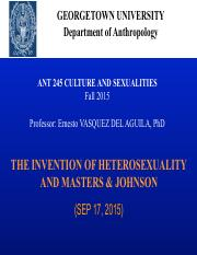 SEP 17 INVENTION HETEROSEXUALITY-MASTERS&JOHNSON-CLASS NOTES