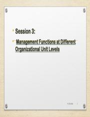 Session 3 -Managerial Functions  @Different Organizational Unit Levels
