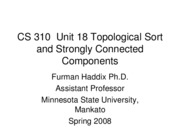 CS 310 Unit 18 Topological Sort and Strongly Connected Components