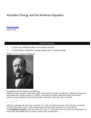 Activation Energy and the Arrhenius Equation