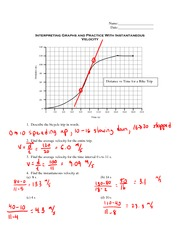 Physics 11 Interpreting Graphs With Instantaneous Velocity
