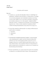 Lecture 3 Notes - Colonialism and Development