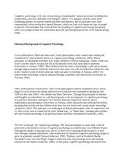 Cognitive Psychology Definition Paper - 4 Pages (APA Formats with References)