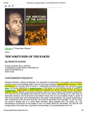 Frantz Fanon, _Concerning Violence,_ From THE WRETCHED OF THE EARTH