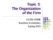 Topic 5. The Organization of the Firm