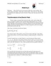 Study Guide 6 on Relativity