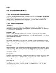 Lab 2 How to read a ressearch article (2)