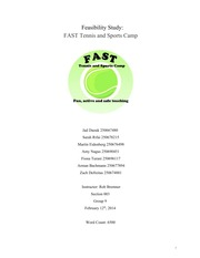 BA 2257 Feasibility Project   FAST Tennis and Sports Camp