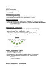 Energy Transformations Notes