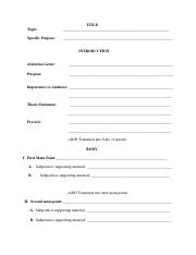 1301 Informative Speech Outline form