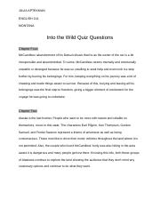 Into the Wild Quiz Questions