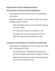 Project Human Resource Management Notes