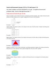 Vocab and Homework Lessons 2 07 to 2 13 and Lesson 5 11 (1)