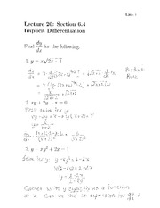 Lecture 20- Implicit Differentiation
