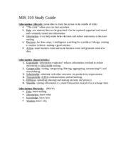MIS 310 Study Guide