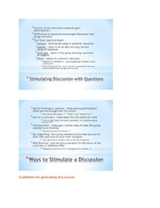 Ways to stimulate discussion