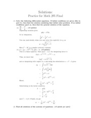MATH 205 Practice Final With Answer Key Spring 2011