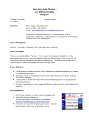 Advertising Media Planning 1 - Syllabus