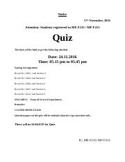 notice for quiz
