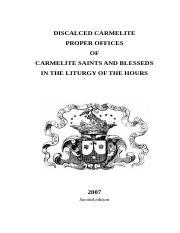 Carmelite Breviary pdf - DISCALCED CARMELITE PROPER OFFICES