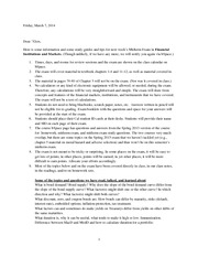 Exam Guide and Tips for Midterm Exam Spring 2014