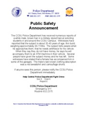 CCSU Police public saefty announcement 110107