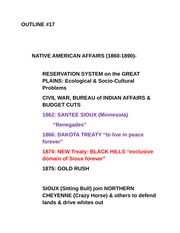 HST 1202 Outline #17: NATIVE AMERICAN AFFAIRS (1860-1890)-