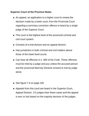 Superior Court of the Province Notes