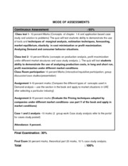 MODE OF ASSESSMENTS weekday evening 2013-14