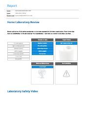 Laboratory Safety report