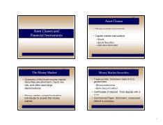 Lecture 2 - Asset Classes and Financial Instruments