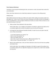 Writing thesis statements worksheet