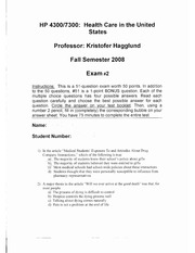 Health Professions 4300 Hagglund Exam 2