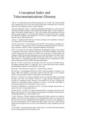 Conceptual Index and Telecommunications Glossary