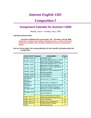 English 1301D Assignment Calendar SuI09-1