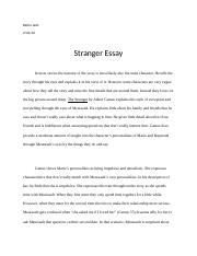Stranger  Babru Jasti Stranger Essay In Most Stories The Narrator  Stranger  Babru Jasti Stranger Essay In Most Stories The Narrator Of The  Story Is Most Likely Also The Main Character He Tells The Story Through His High School Reflective Essay also Thesis In A Essay  Help Literature Review