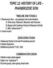 BIOL 339 Lecture Topic 12 - Phanerozoic Eon