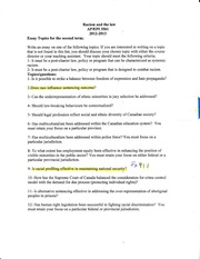 Essay Questions Racism and Law Term 2