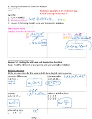 9.1 Finding the nth term and Summation Notation