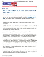 CRR Interest Payment by RBI