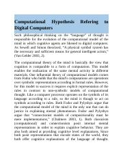 Computational Hypothesis Refering to Digital Computers.docx
