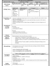 Laryngeal Cancer Worksheet