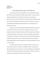 Essay on Nazi Germany & the causes of the Holocaust