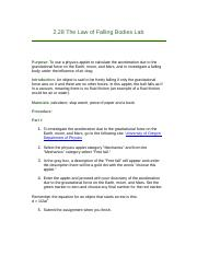 2.28 The Law of Falling Bodies Lab.docx
