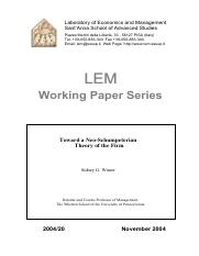 "Winter, Sydney (2004), ""Toward A Neo-Schumpeterian Theory of the Firm"". LEM Working Paper Series, La"