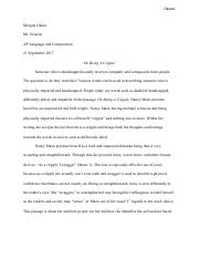 Example Of Thesis Statement For Argumentative Essay  Pages Morgan Okula  On Being A Cripple Essaypdf Essay About Healthy Eating also Health Essay Mairs Describes Herself As A Lover Of Words And She Likes The  Terrorism Essay In English