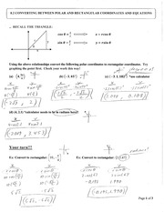 Section 8.2 Polar and Rectangular Conversions Notes