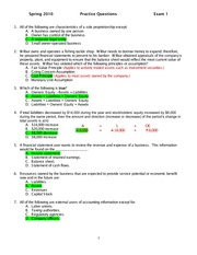 Spring 2013 Accounting Exam 1 Review Answers