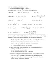 Brief Calculus Review Sheet Ch Three